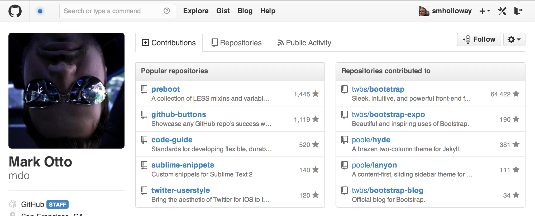 @mdo's GitHub profile is hot